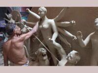 বগুড়ায় প্রতিমা তৈরিতে ব্যস্ত সময় পার করছেন কারিগররা